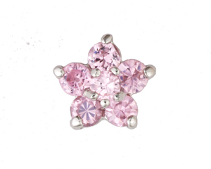 Flower Pink - Silver & CZ Charm